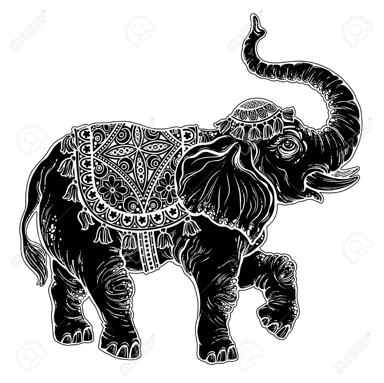 vintage indian ethnic dancing boho elephant royalty free cliparts