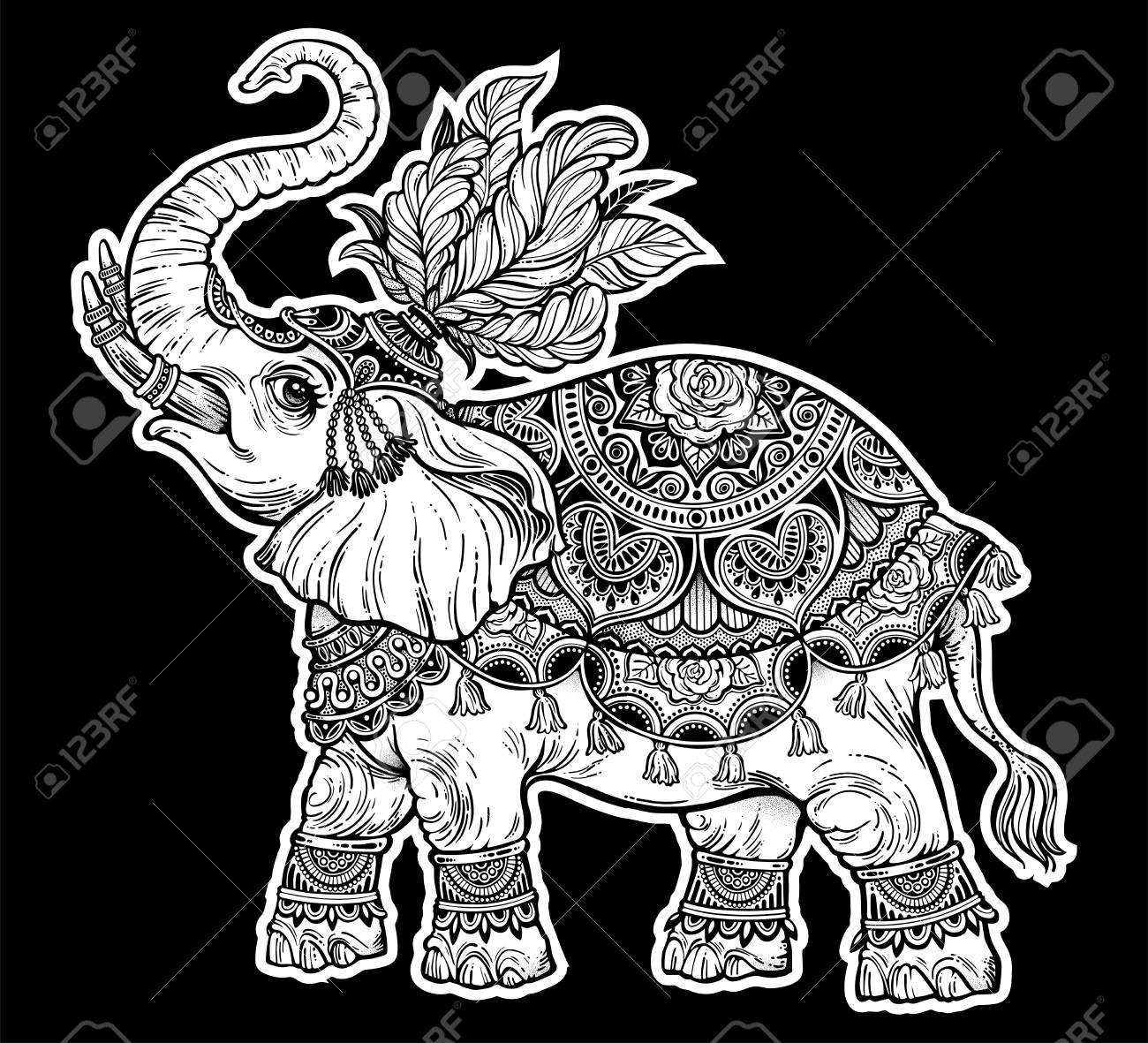 vintage indian ethnic boho elephant with feathers vector