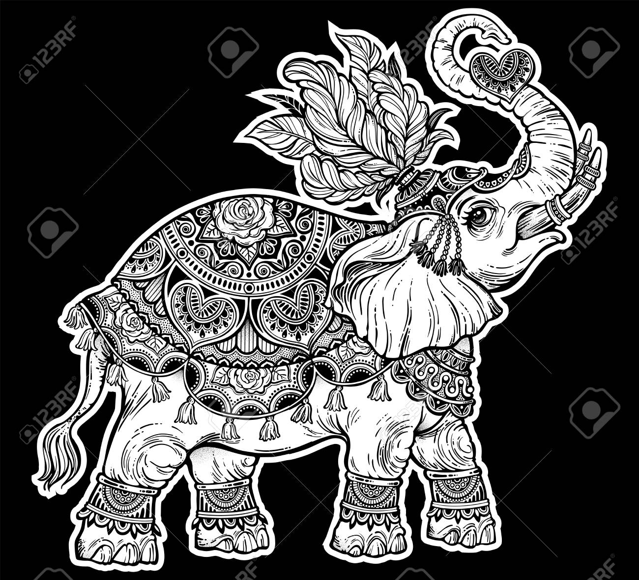 indian ornate ethnic circus boho elephant with feathers african