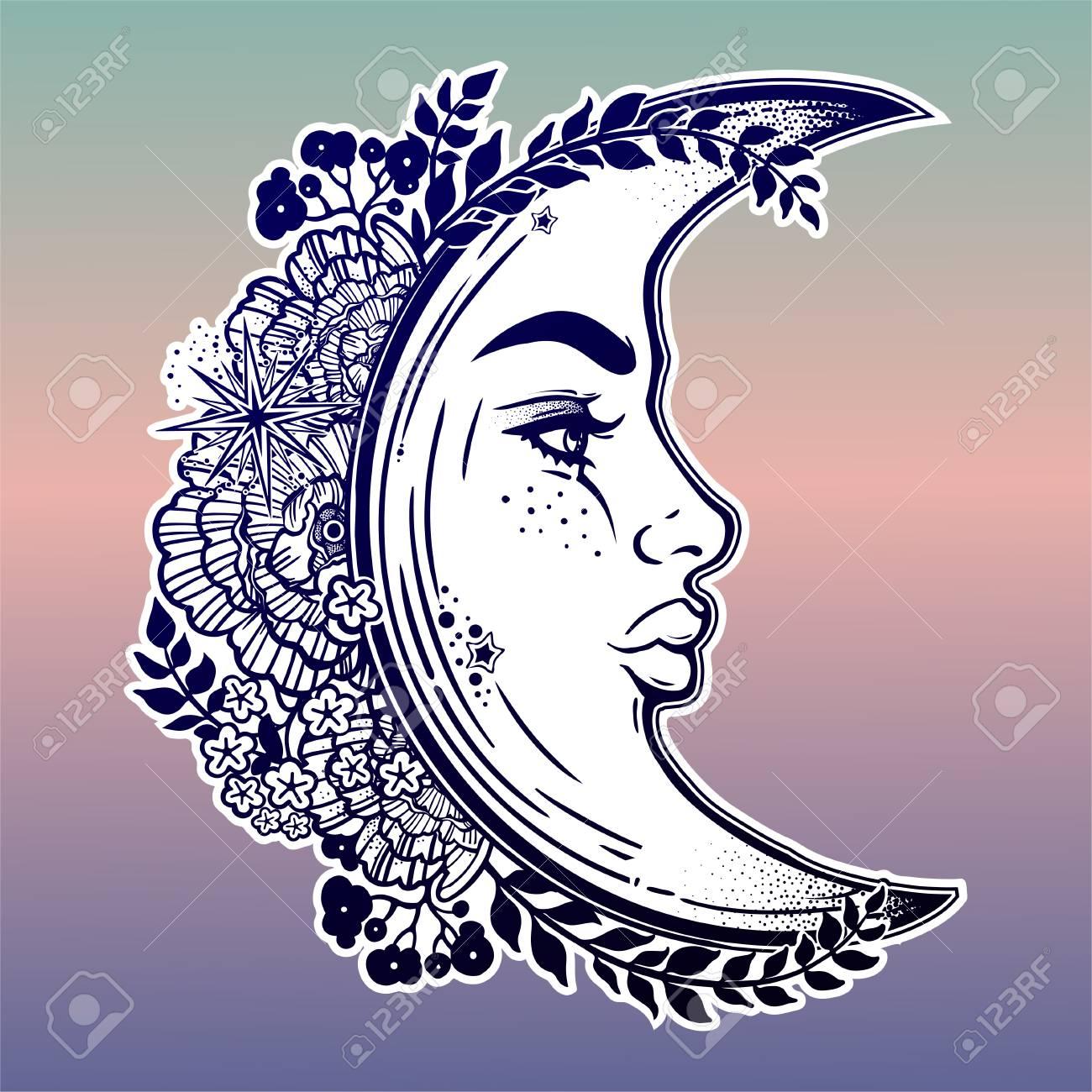Romantic Crescent Moon As A Beautiful Woman Face Illustration Stock Vector