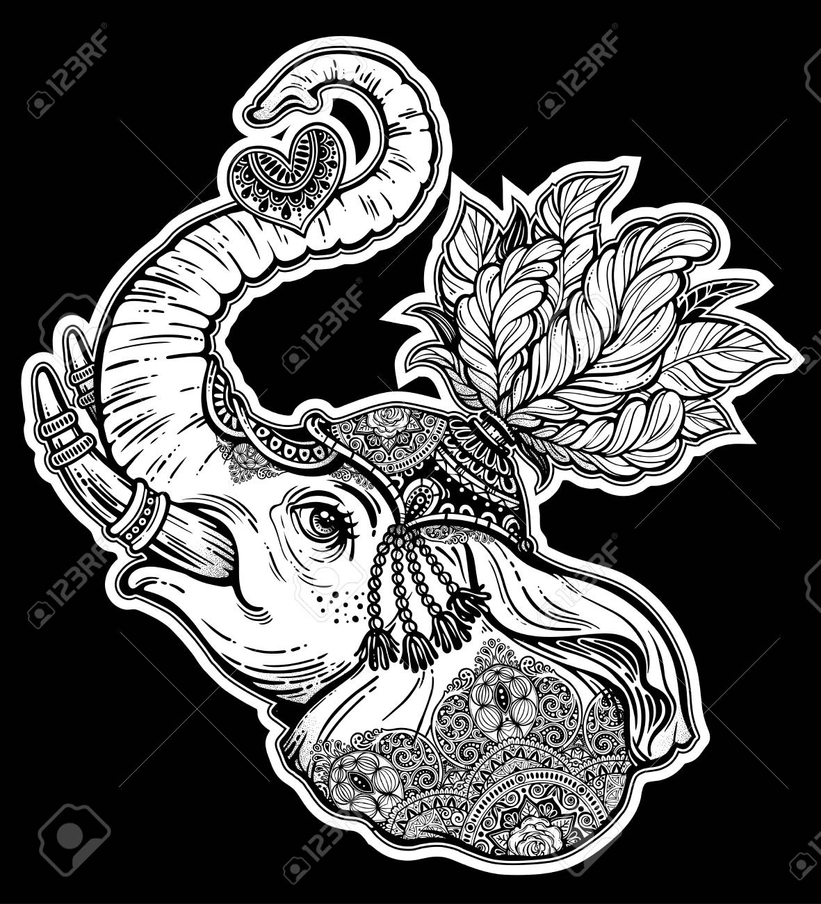 Elephant Face Portrait With Ethnic Ornament Holding A Heart African Indian Arab Tribal