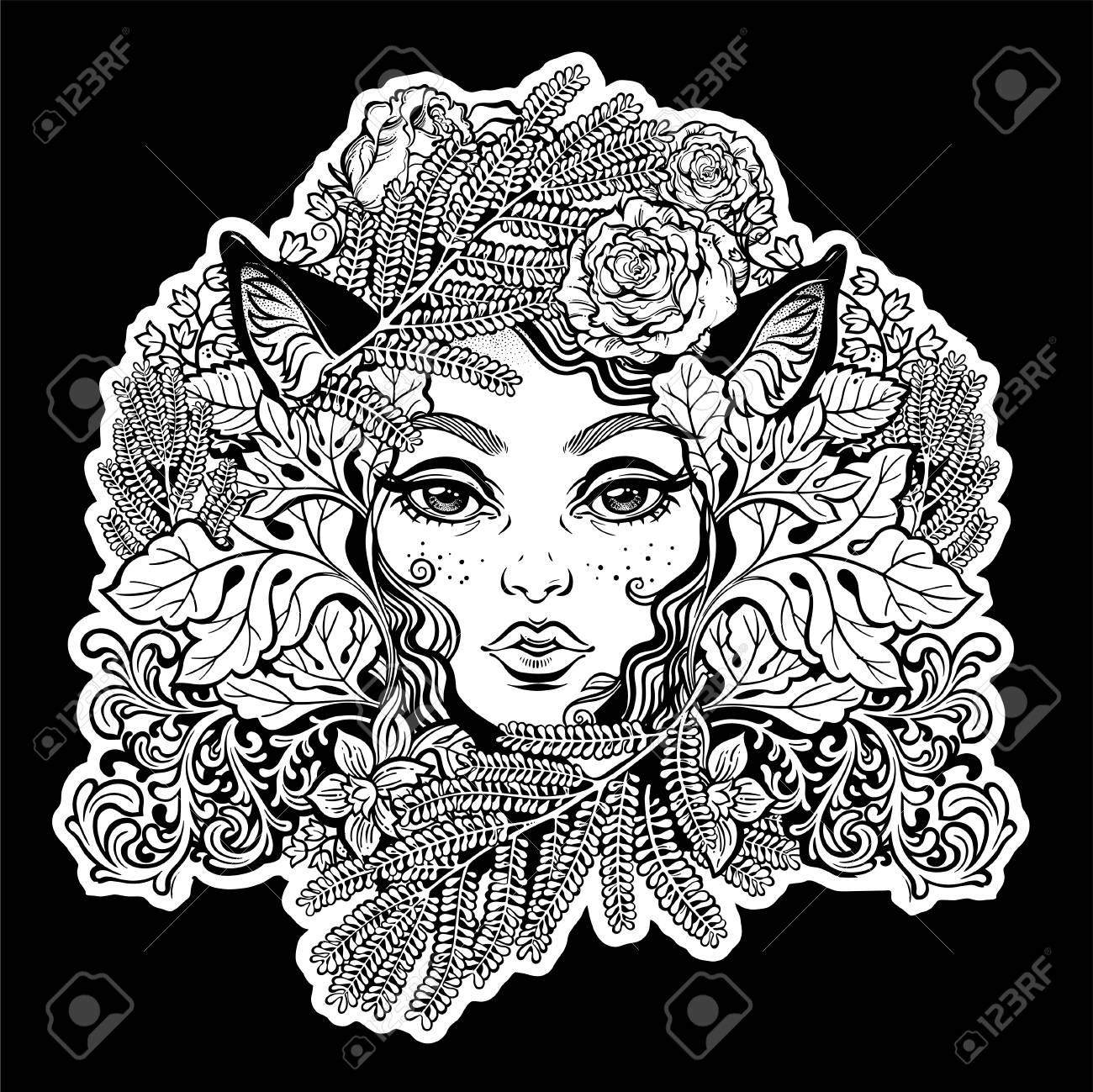 Celtic Fairy Elf. Shaman Woman With Animal Ears Of Ferns, Leaves ...