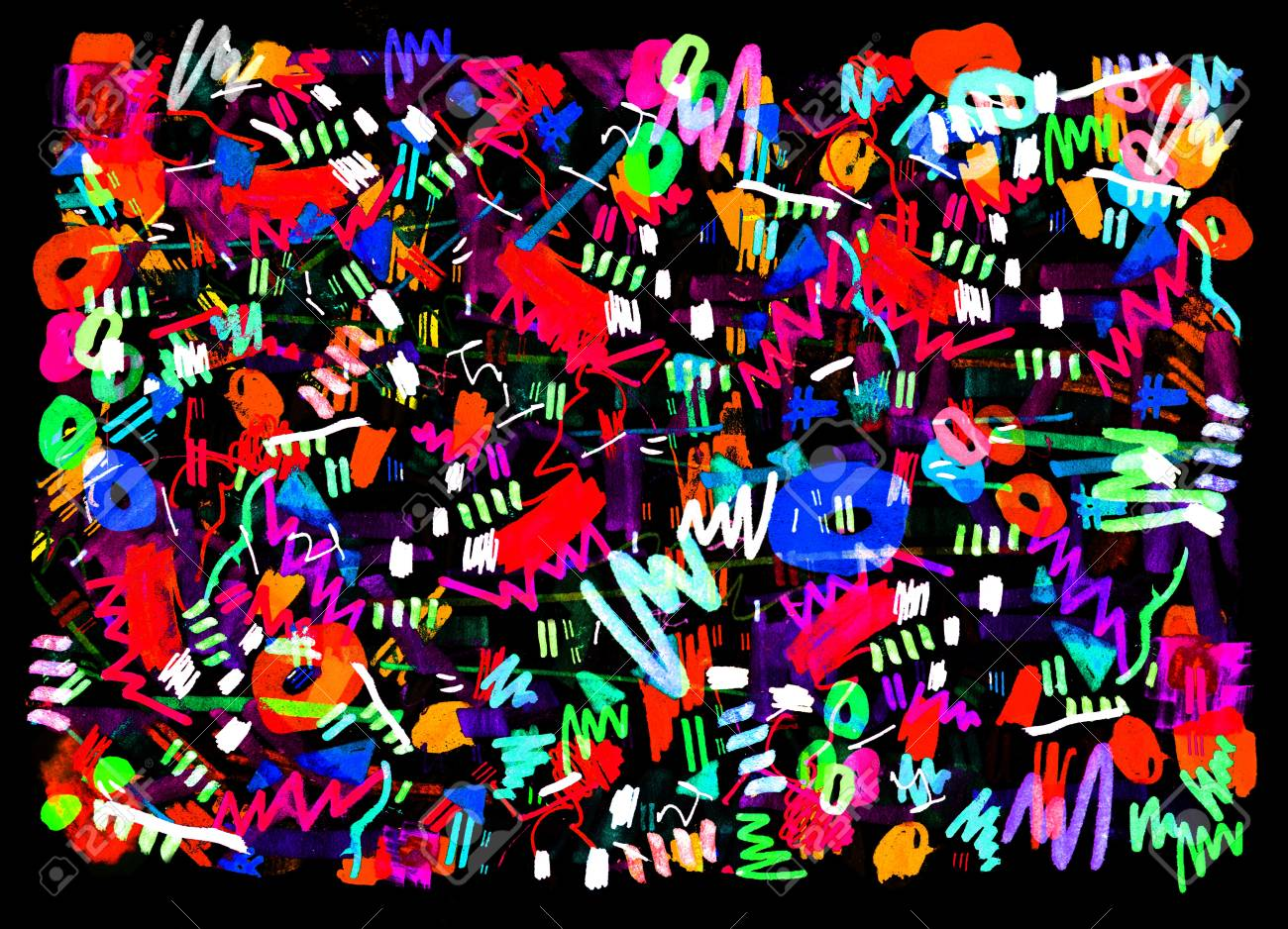 Bright Color Abstract Painting In Memphis Style