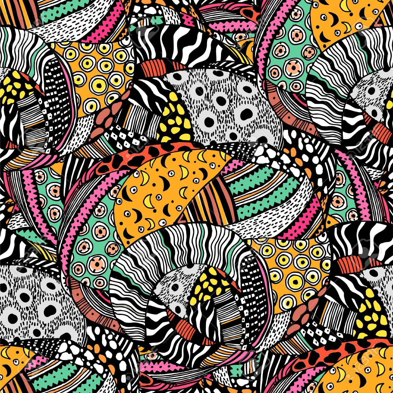 Ethnic style fashion African seamless pattern. Traditional geometric art with naive twist. Urban fabrics diversity fusion background. Traditional tribal tile, wallpaper. - 124318104