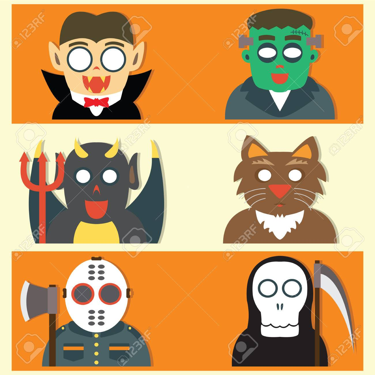 Cute Halloween Monsters Flat Cartoon Design Royalty Free Cliparts ...