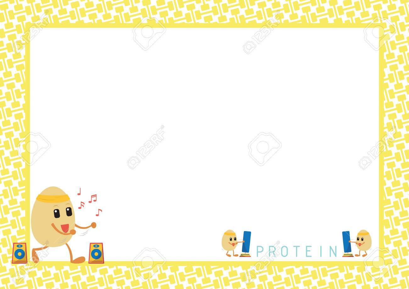 Workout Eggs Cartoon Aerobic Dance Design In Yellow Dumbbell ...