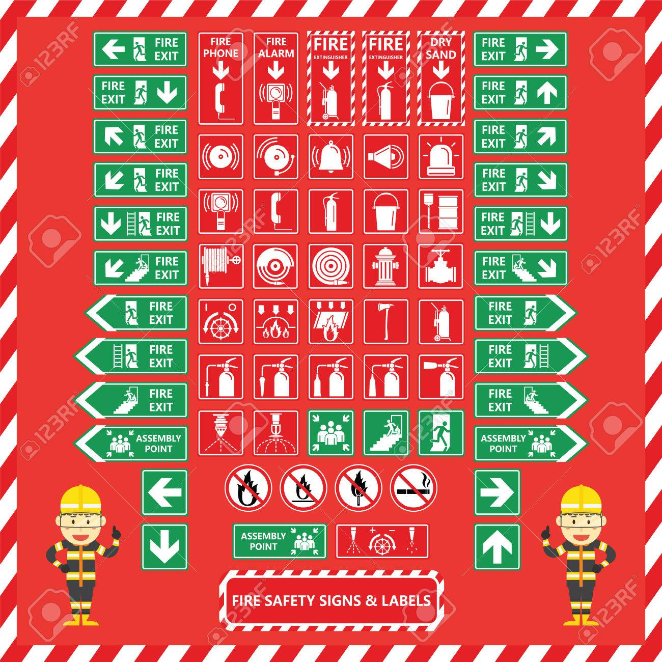set of fire safety signs and labels with cute fire fighter cartoon