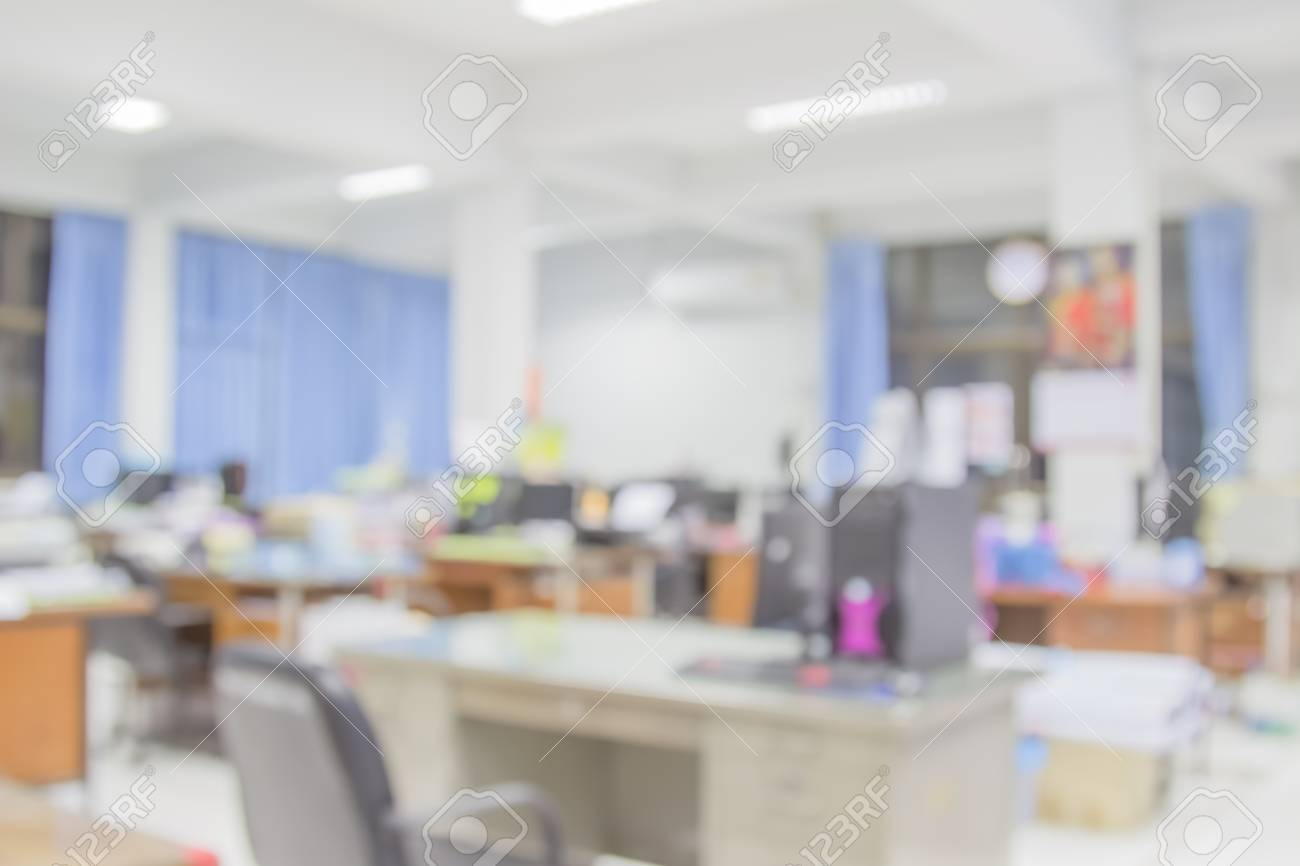 Businessmen Blur In The Workplace Table Top And Blur Office Of