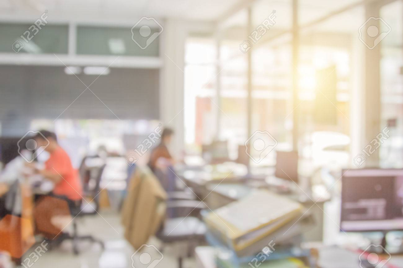 Businessmen Blur In The Workplace Table Top And Blur Office