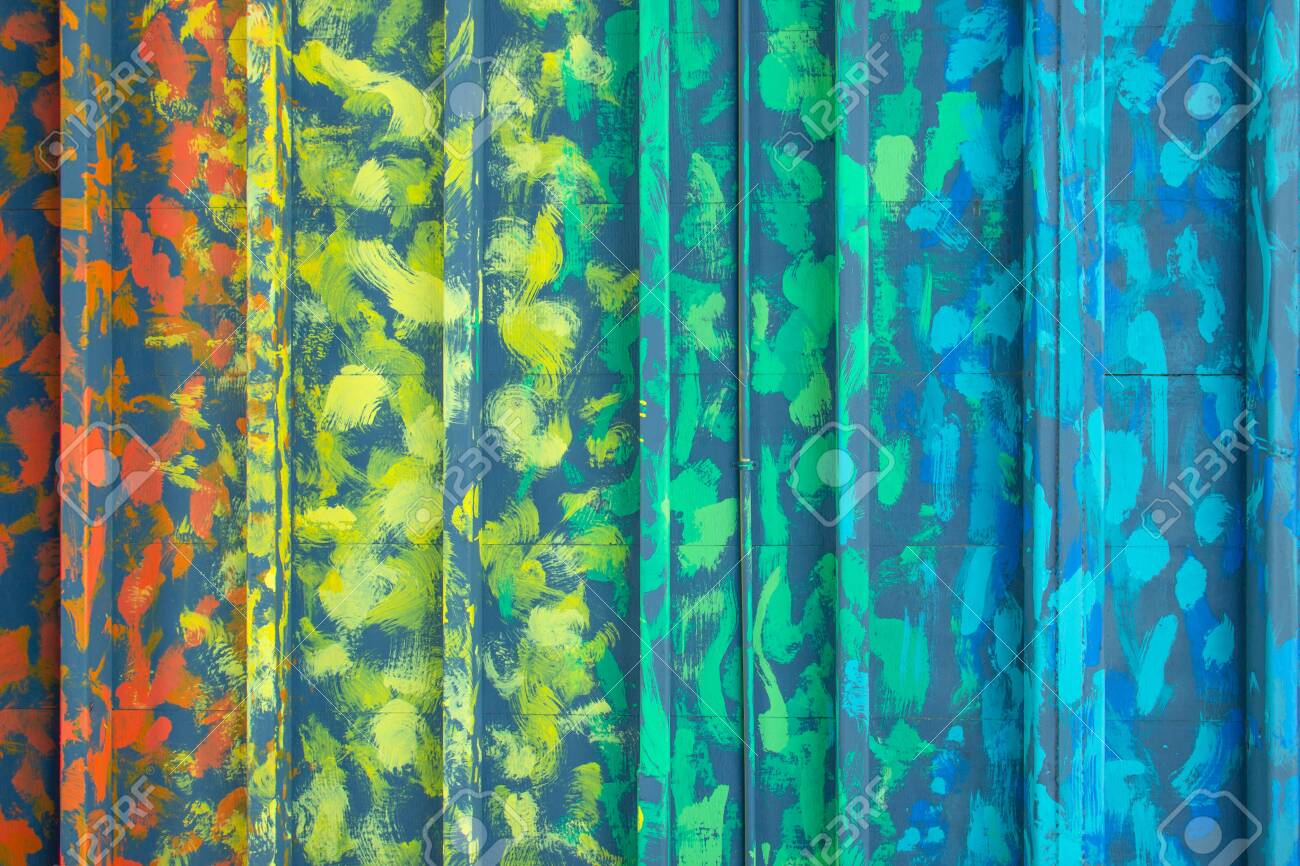 Multicolor zinc texture, Art color metal door. Wall room background container office design. Materials to build a house for sun and rain protection. Closeup modern texture pattern steel home decor. - 142286833