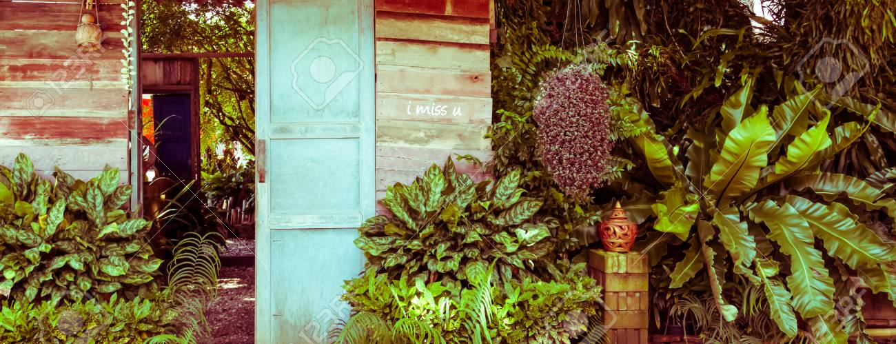 Holztür Im Garten Vintage Toning Lizenzfreie Fotos Bilder Und