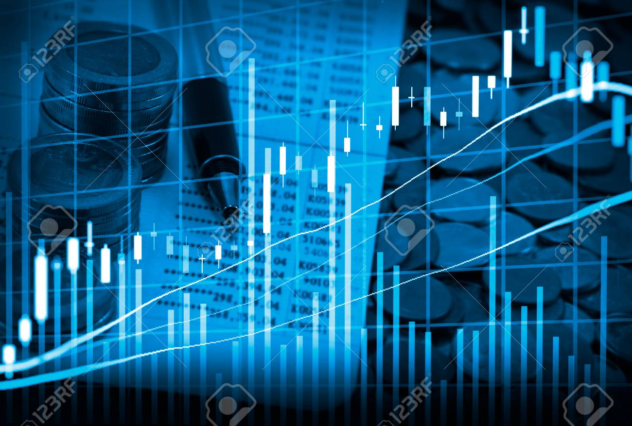 Graph of stock market data and financial with the view from LED