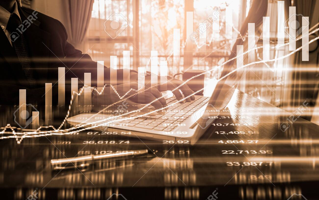 Stock market or forex trading graph and candlestick chart suitable for financial investment concept. Economy trends background for business idea and all art work design. Abstract finance background. - 134595650