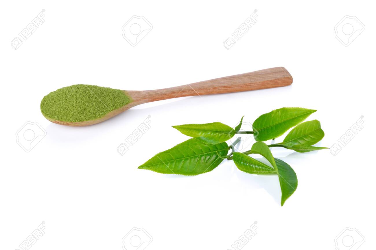 powder green tea and green tea leaf isolated on white background - 128483939