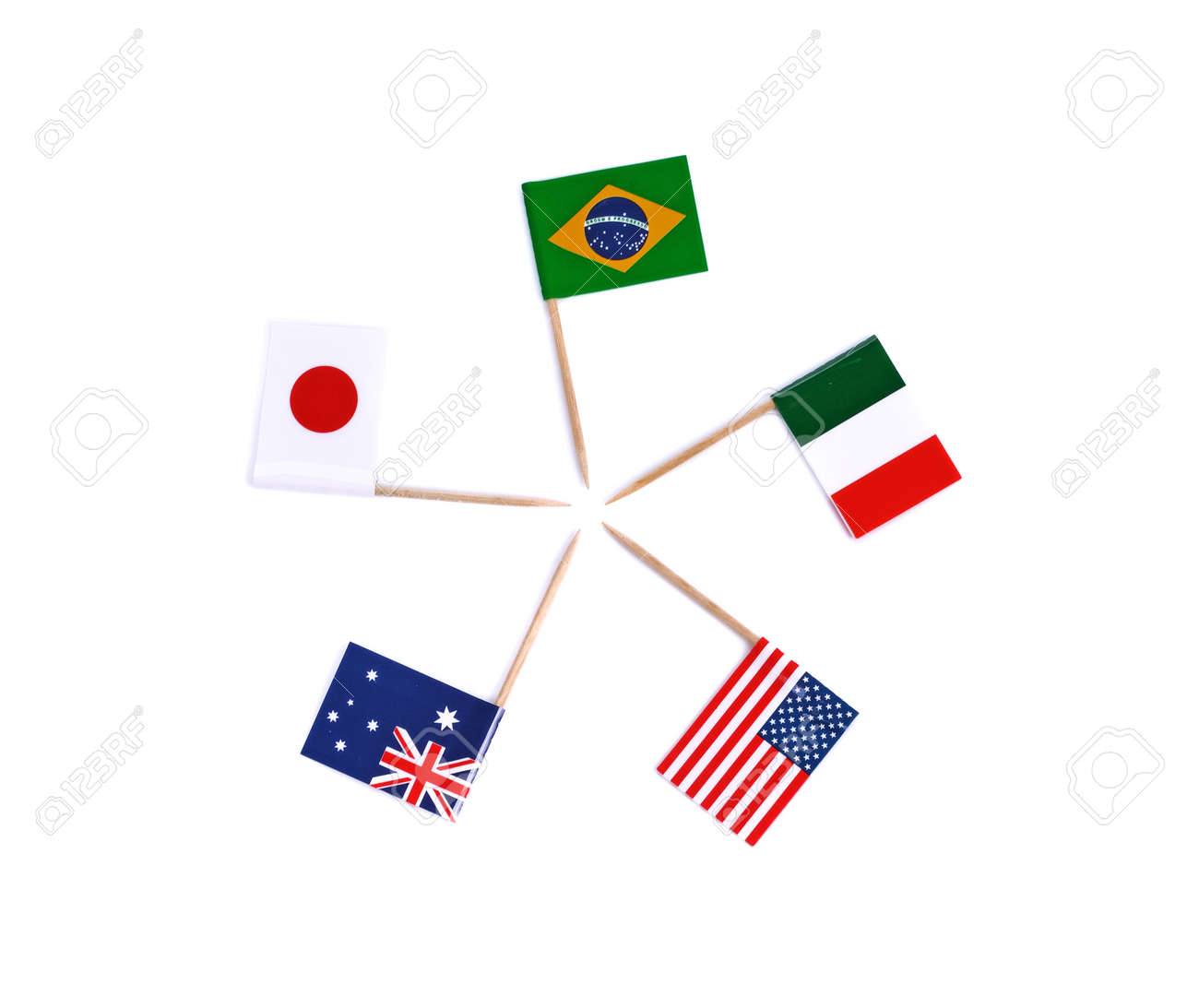 Mini paper flag. Isolated toothpick flag pointer on white background. - 169847810
