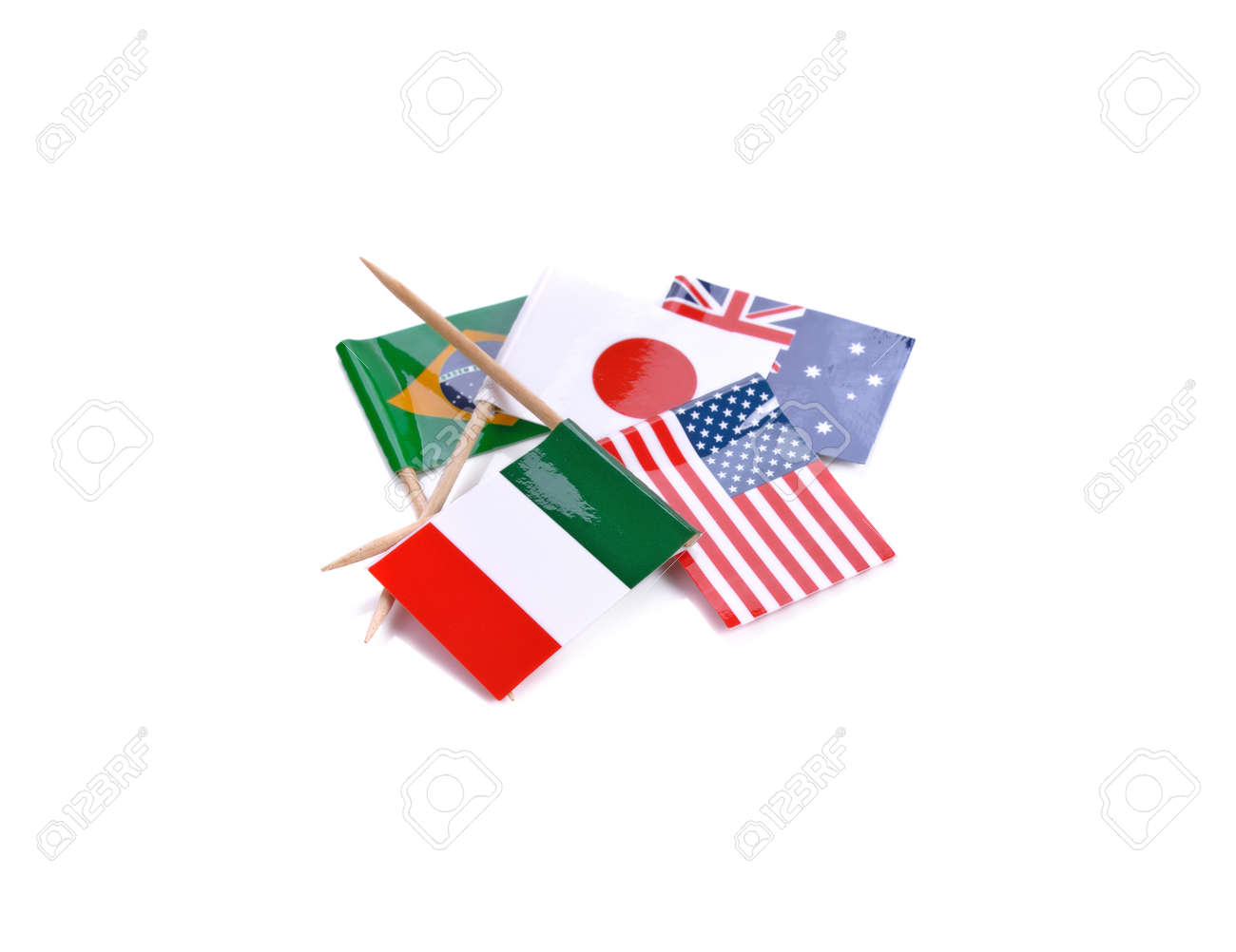Mini paper flag. Isolated toothpick flag pointer on white background. - 169847849
