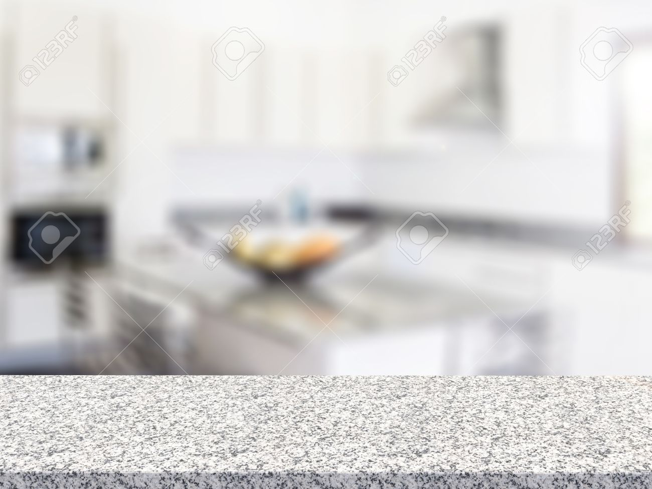Kitchen Counter Background 3D Rendering Granite Counter With Kitchen Background Stock Photo