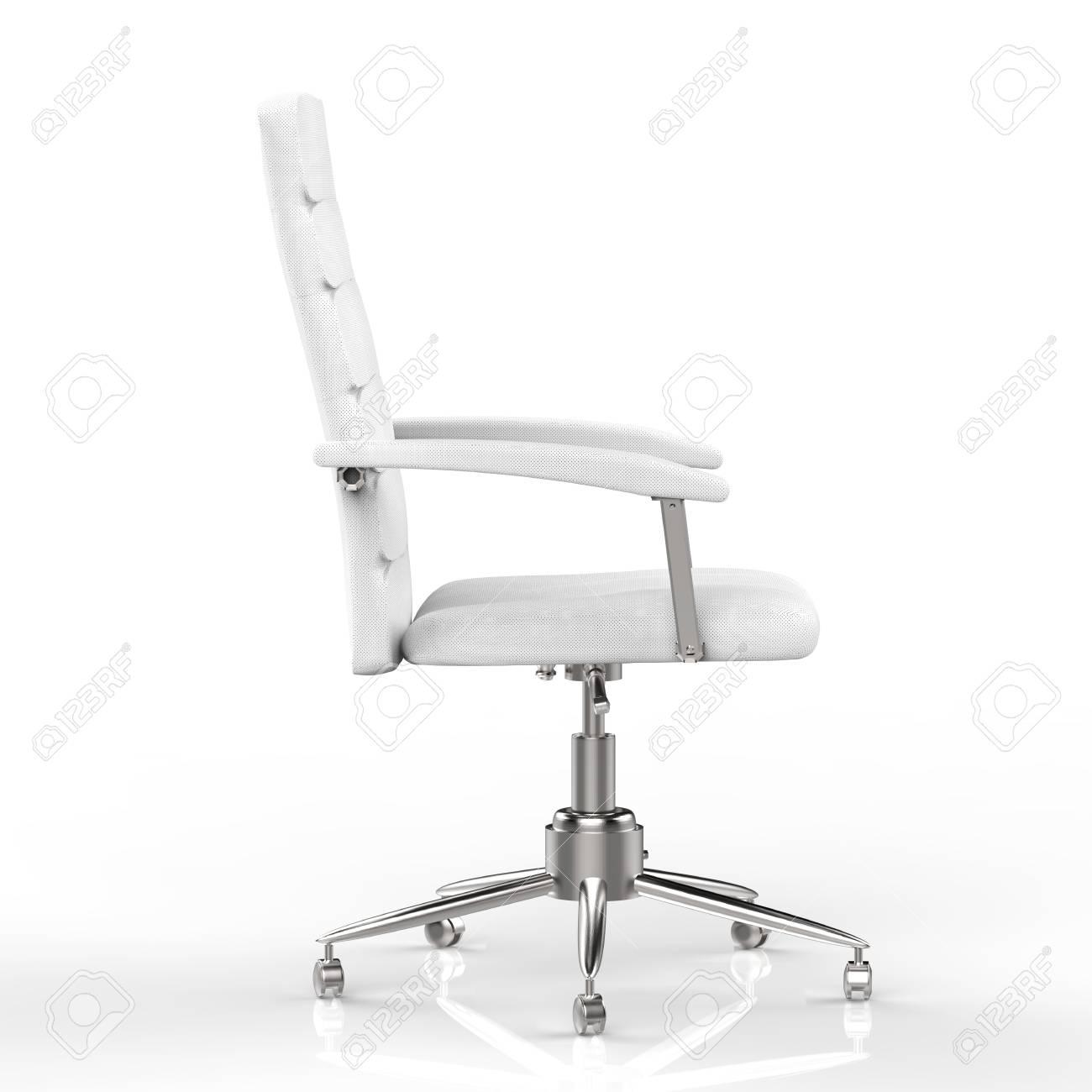 Silla De Oficina Blanca De Representación 3D Sobre Fondo Blanco ...