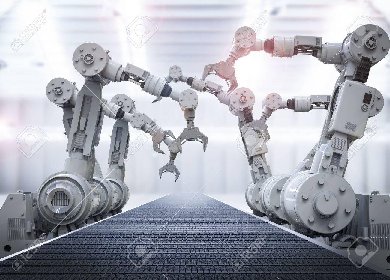 3d rendering robotic arms with empty conveyor belt - 63129634