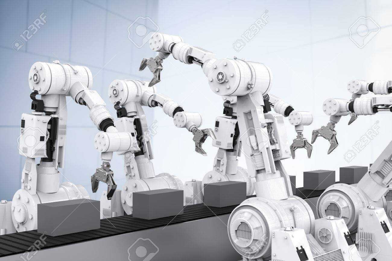 3d rendering white robotic arms with empty conveyor belt - 63129934