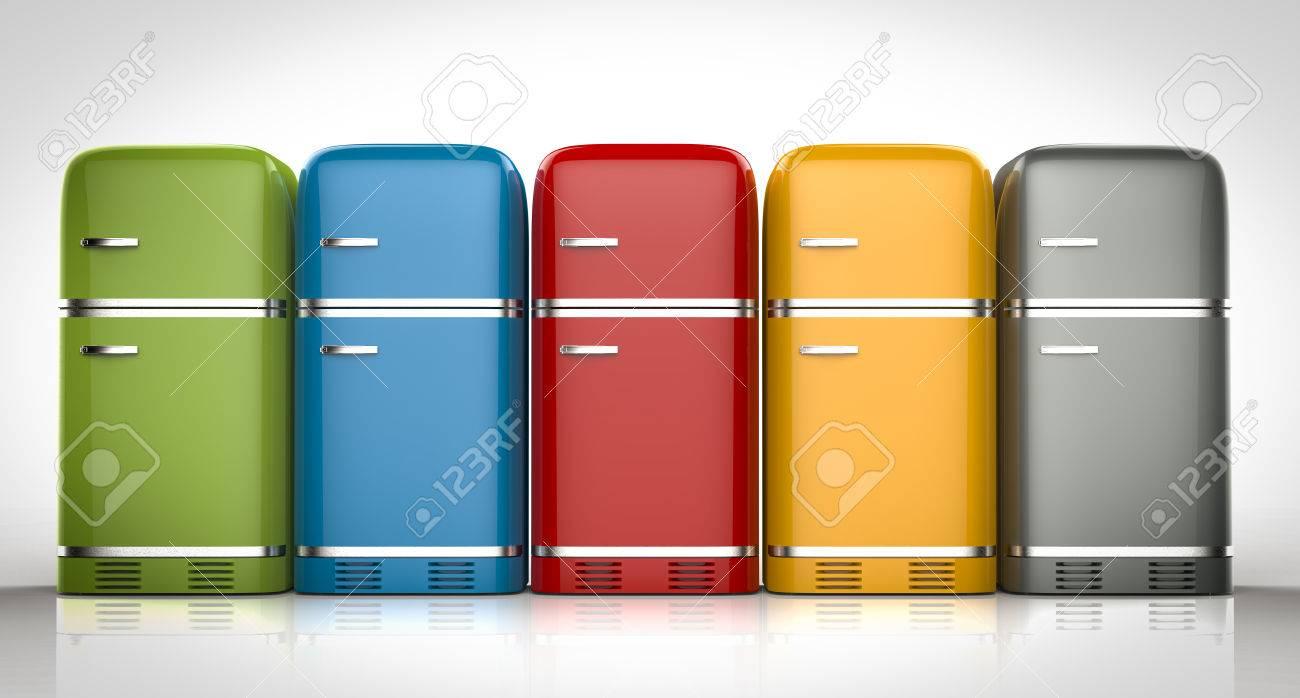Kühlschrank Farbig Retro : D rendering retro design kühlschränke in einer reihe lizenzfreie