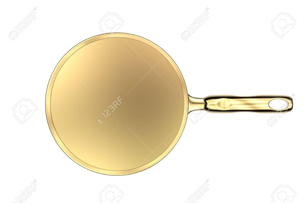 Las 3D de una cacerola vacía oro