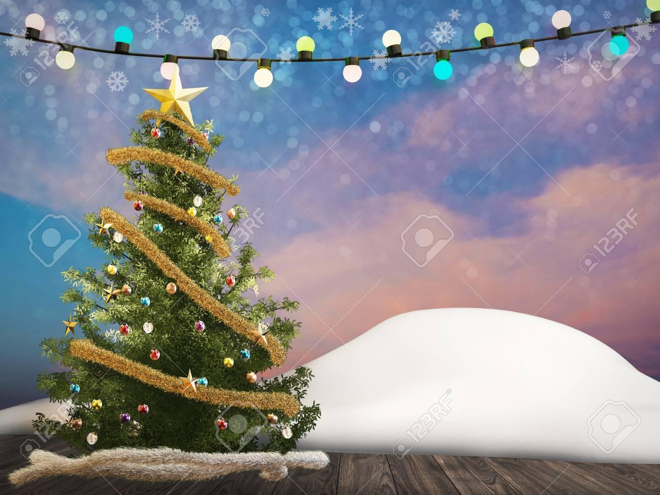 3D-Rendering Weihnachtsbaum Mit Ornamenten Und Seil Lichter ...