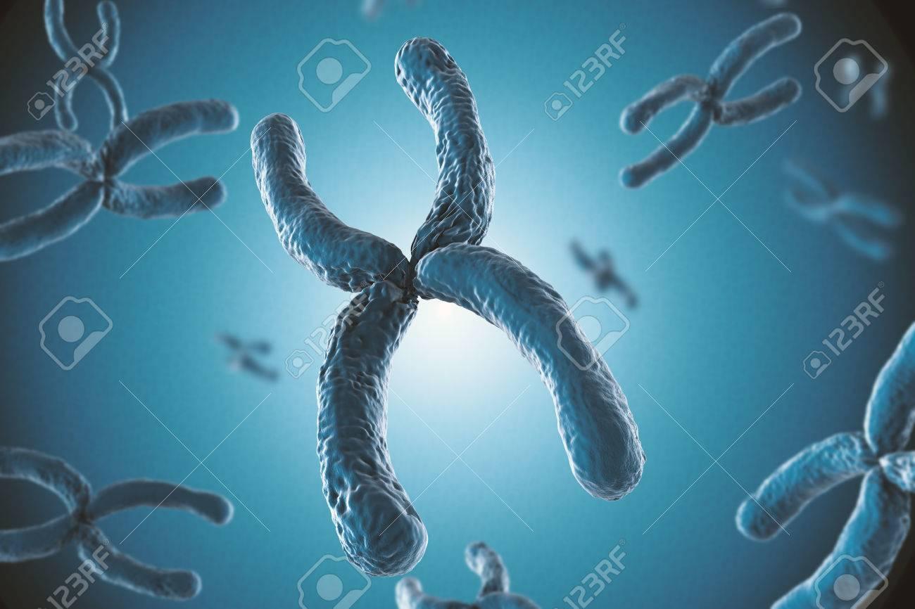 3d rendering blue chromosome on blue background - 63519414