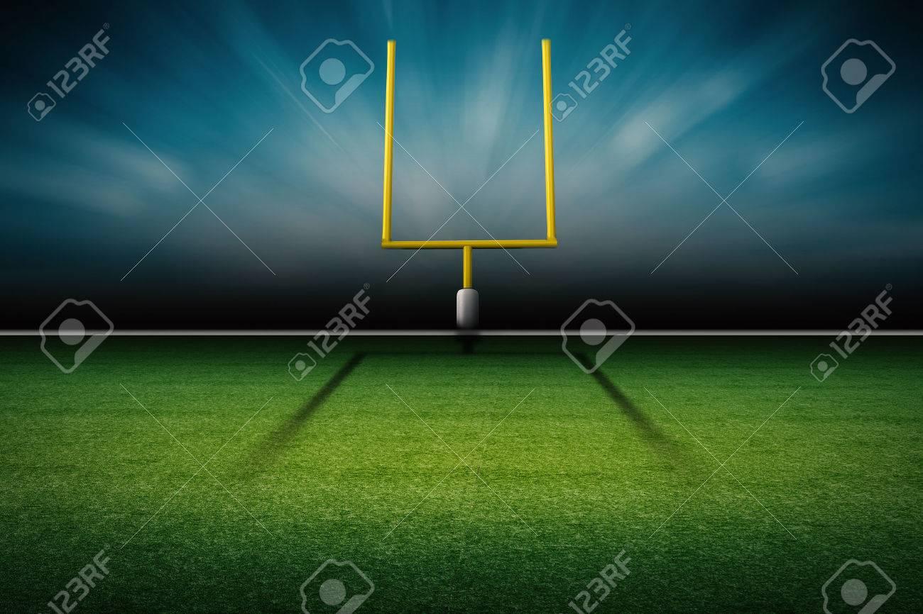 3d rendering american football field goal post - 63519908