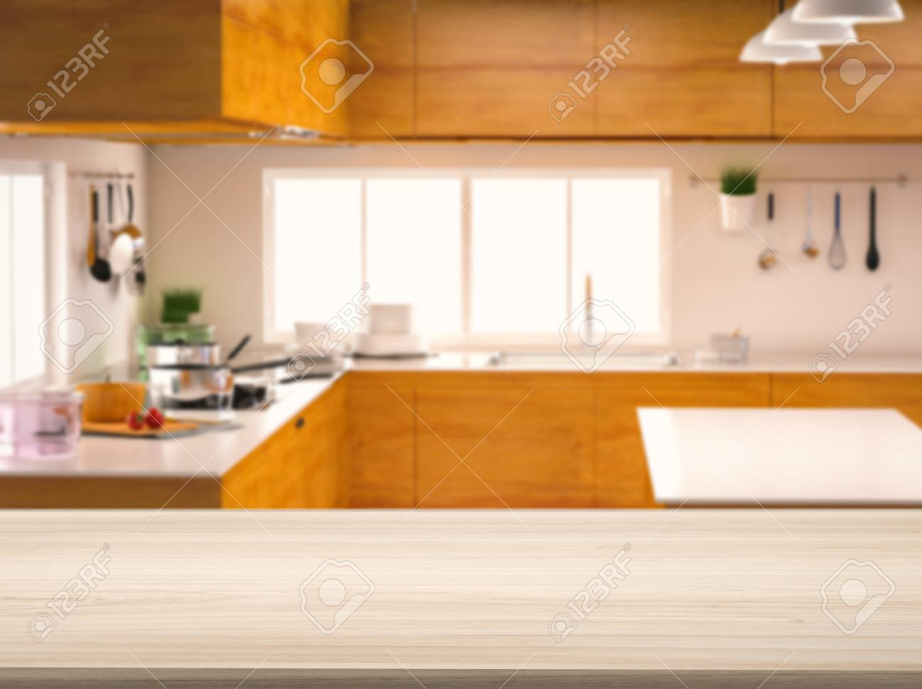 Empty Wooden Counter Top With Kitchen Background