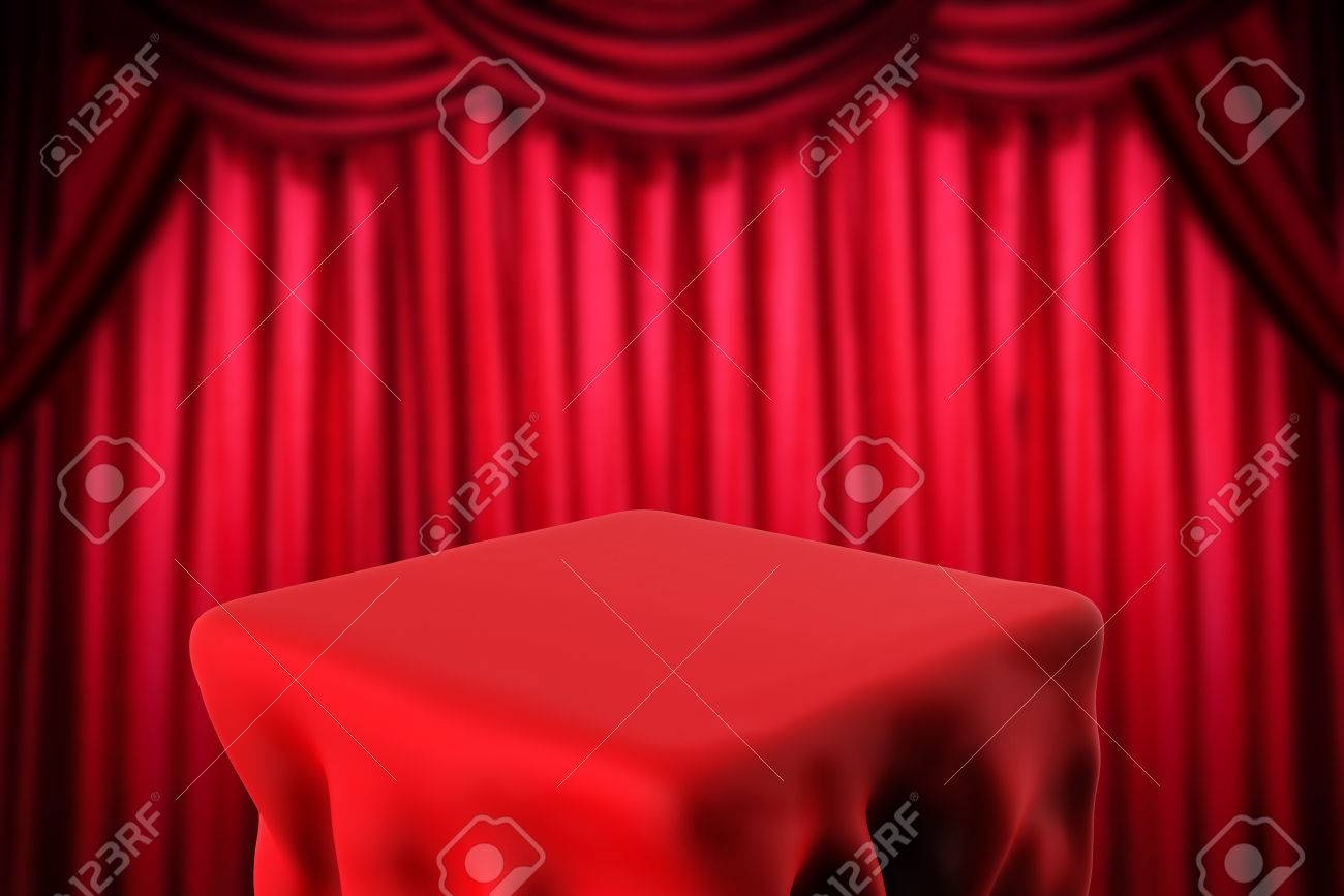 Magic Show Concept With Square Table And Red Curtain Background ...