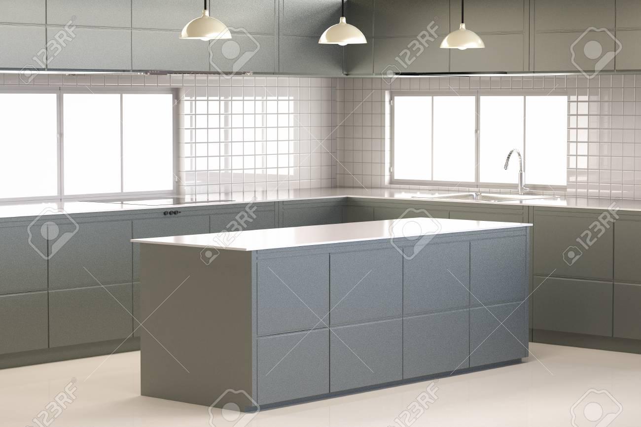 Representación 3D mueble de cocina con encimera de la cocina vacía