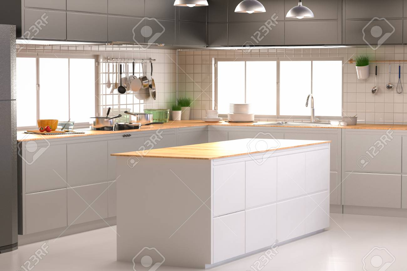 3d Rendering Kitchen Interior With Empty Counter Stock Photo