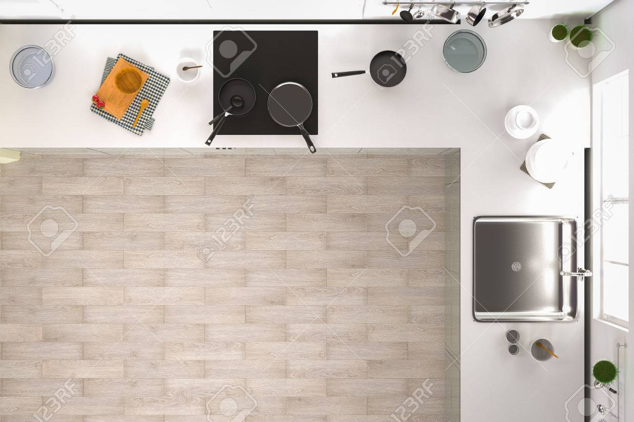 3d Rendering Kitchen Interior Top View With Wooden Floor Stock Photo
