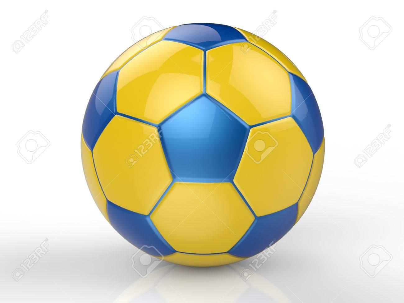 7403265f2bcd4 Foto de archivo - Representación 3D balón de fútbol amarillo y azul