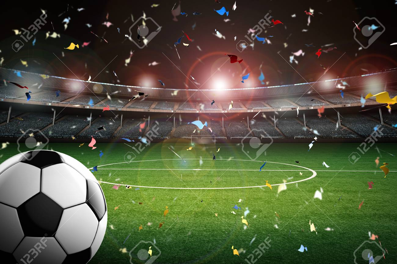 3d prestación balón de fútbol con el estadio de fútbol y el fondo del  confeti Foto 0608d19ec4ce4