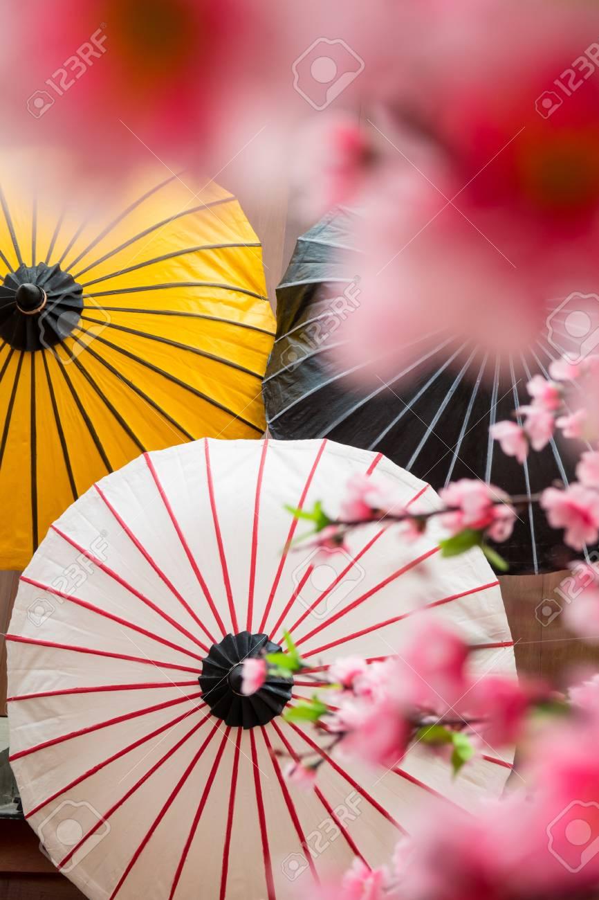 Fond De Decor Japonais Avec Sakura Fleur Et Parapluie Banque D