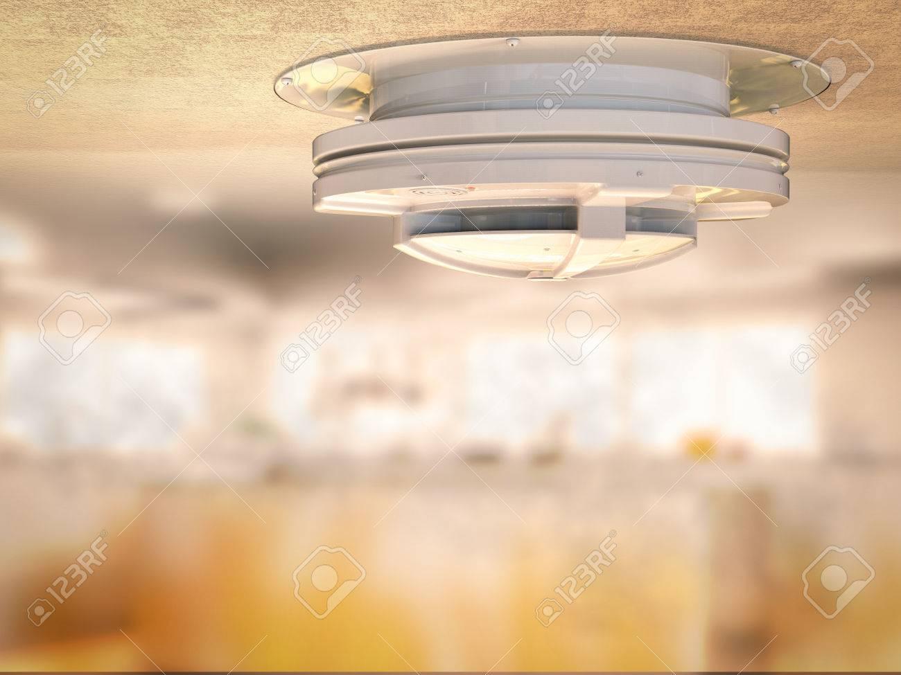 Rauchmelder Für Küche | 3d Rendering Rauchmelder An Der Decke Mit Rauch In Der Kuche
