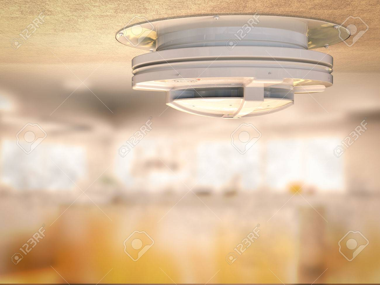 3d Rendering Smoke Detector On Ceiling With Smoke In Kitchen Stock Photo    64609784