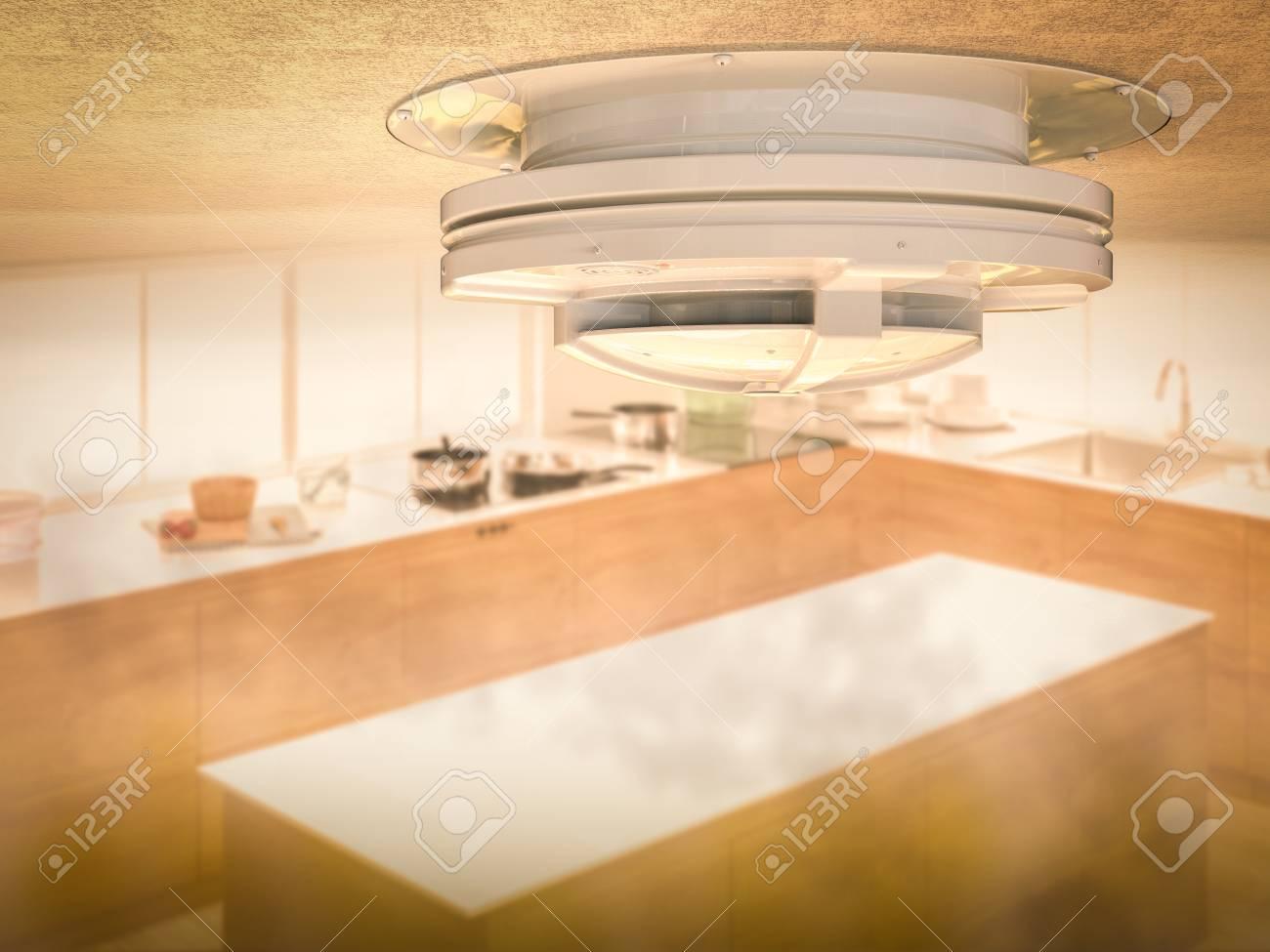 3D-Rendering-Rauchmelder An Der Decke Mit Rauch In Der Küche ...