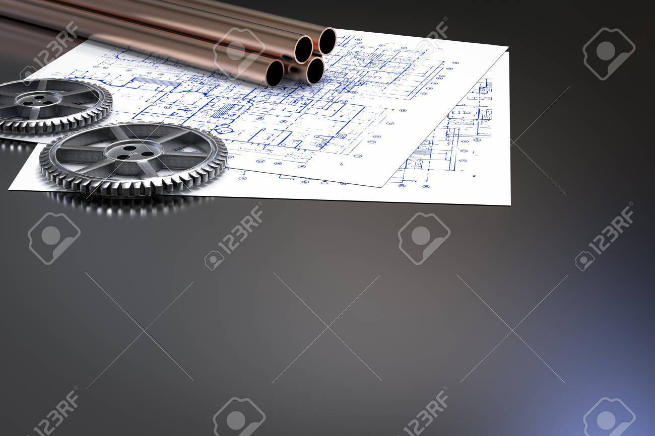 Civil engineer concept with metal pipes and blueprint paper stock civil engineer concept with metal pipes and blueprint paper stock photo 64749725 malvernweather Image collections