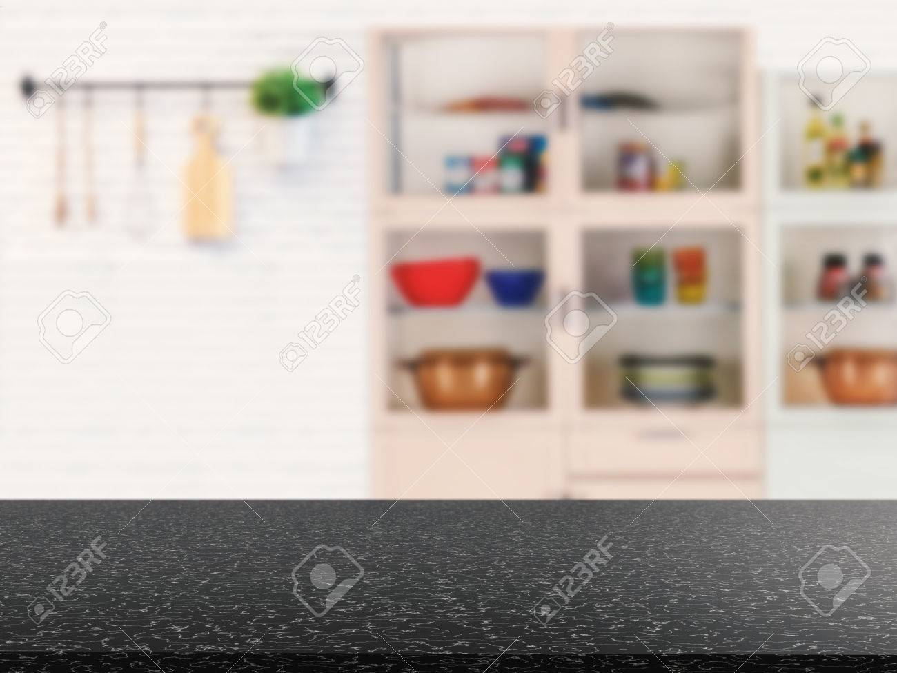 Kitchen Counter Background Black Granite Counter Top With Kitchen Cabinet Background Stock
