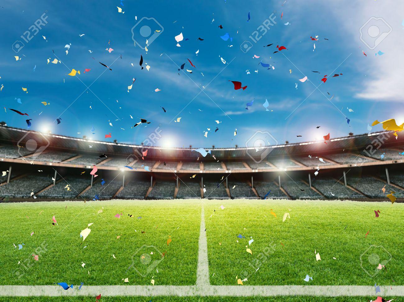 3d prestación celebración confeti en el fondo del campo de fútbol Foto de  archivo - 64943534 595c83a1d860b
