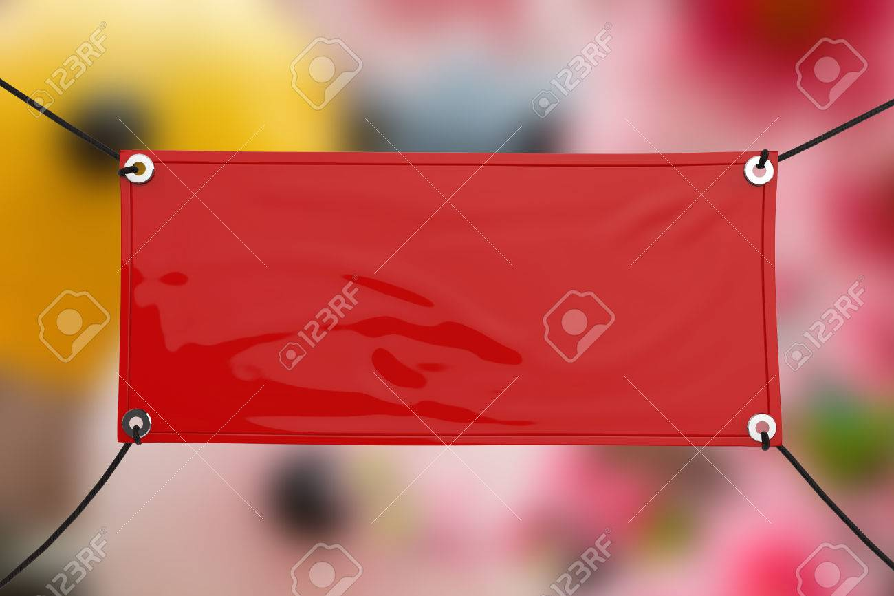 Red Blank Vinyl Banner Hanging With Rope Stock Photo Picture And - Blank vinyl banners