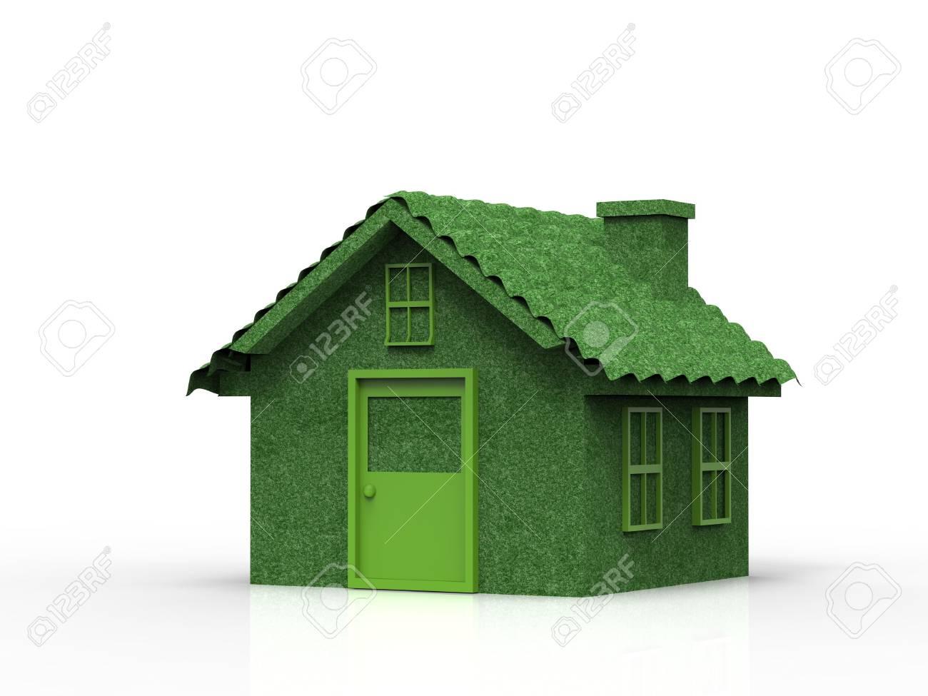 Banque dimages maison de maquette verte ou maison de modèle sur fond blanc