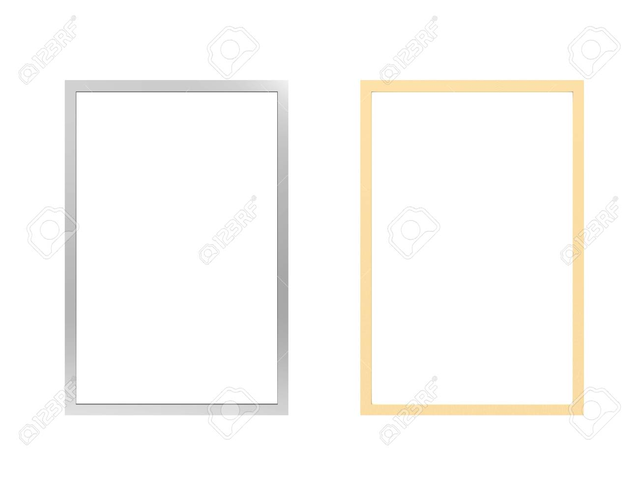 eaab19c1ac0 silver and golden photo frames isolated on white Stock Photo - 65602901