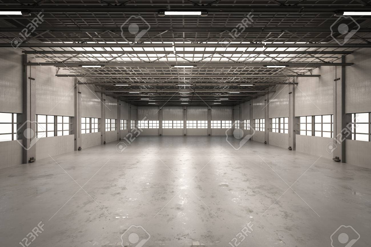 3d Rendering Empty Factory Interior Or Empty Warehouse Stock Photo    70119199