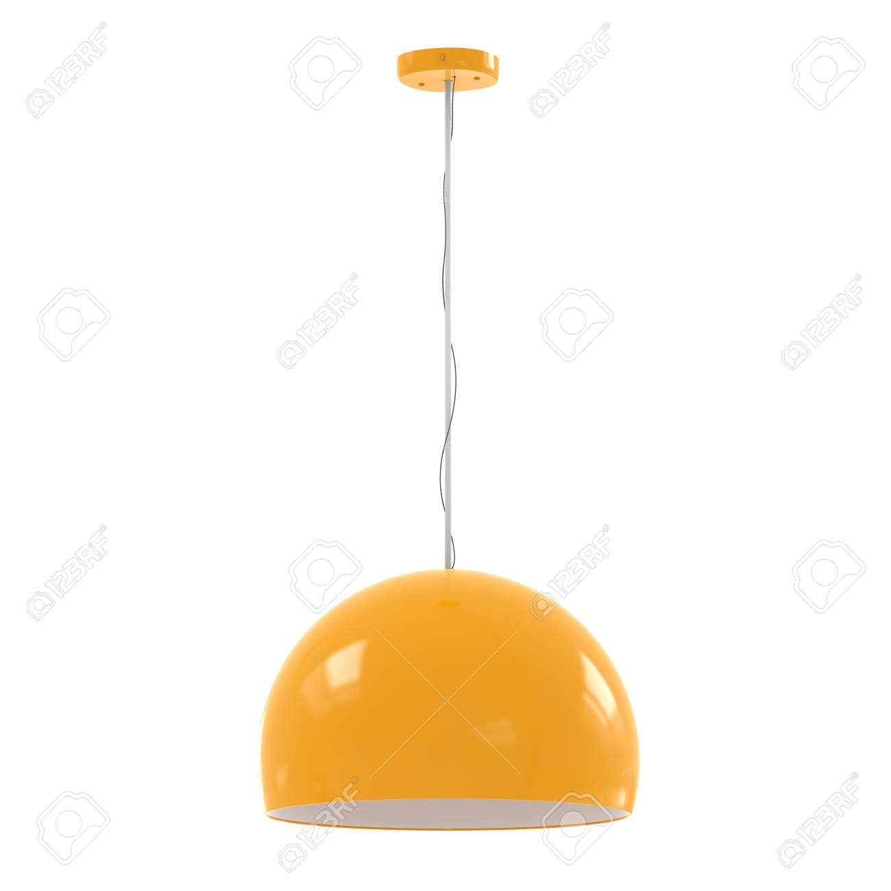 3d rendering hanging yellow pendant lamp isolated on white - 70481428