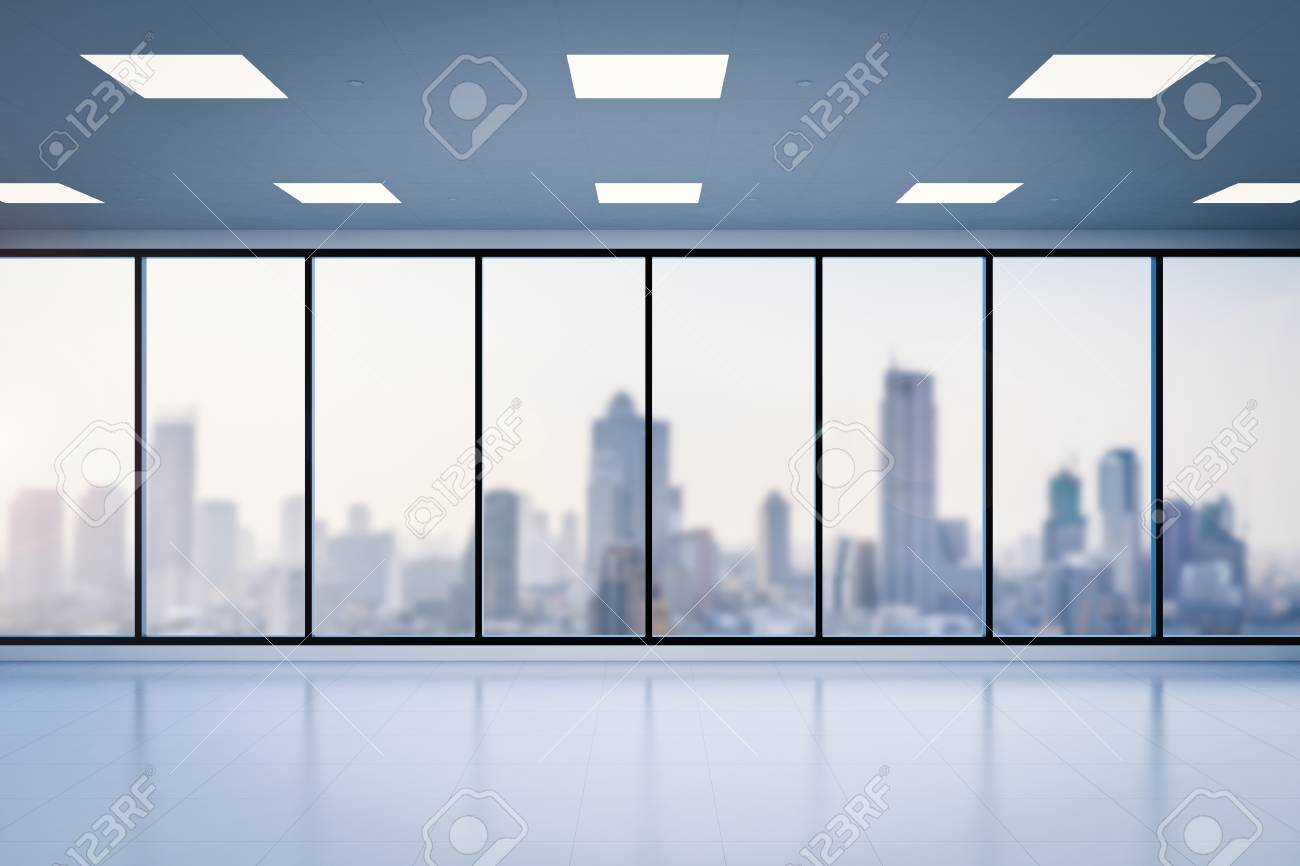 office glass windows. 3d Rendering Empty Office Space With Glass Windows Stock Photo - 78367120 S