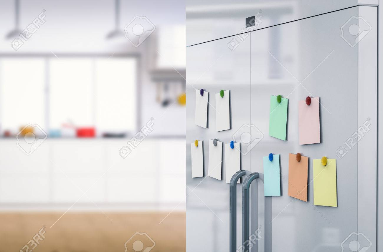 3d rendering empty notes with fridge magnets on refrigerator